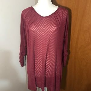 Maurices maroon colored three-quarter sleeve top